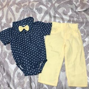 Baby 9 month Boy yellow and blue outfit w/bow tie